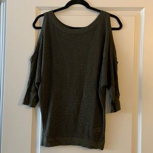 Forest Green Express Cold Shoulder Sweater